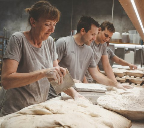 Brigitte with Lukas and Georg at the bakery